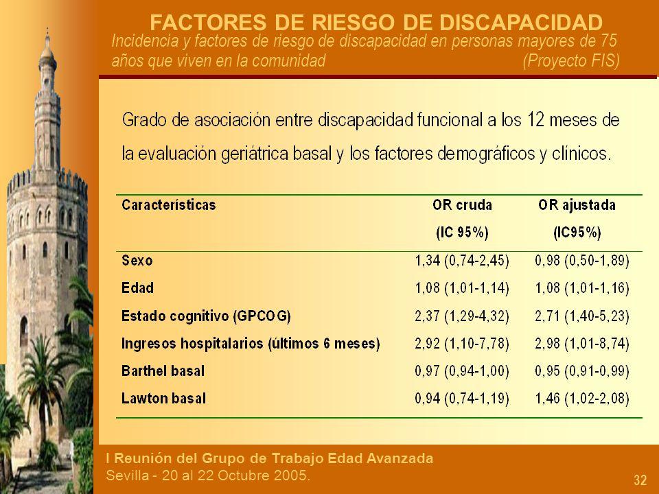 I Reunión del Grupo de Trabajo Edad Avanzada Sevilla - 20 al 22 Octubre 2005. 32 FACTORES DE RIESGO DE DISCAPACIDAD Incidencia y factores de riesgo de