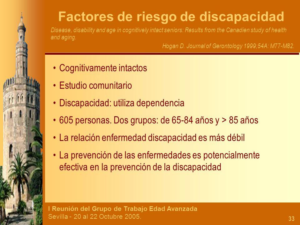 I Reunión del Grupo de Trabajo Edad Avanzada Sevilla - 20 al 22 Octubre 2005. 33 Factores de riesgo de discapacidad Disease, disability and age in cog