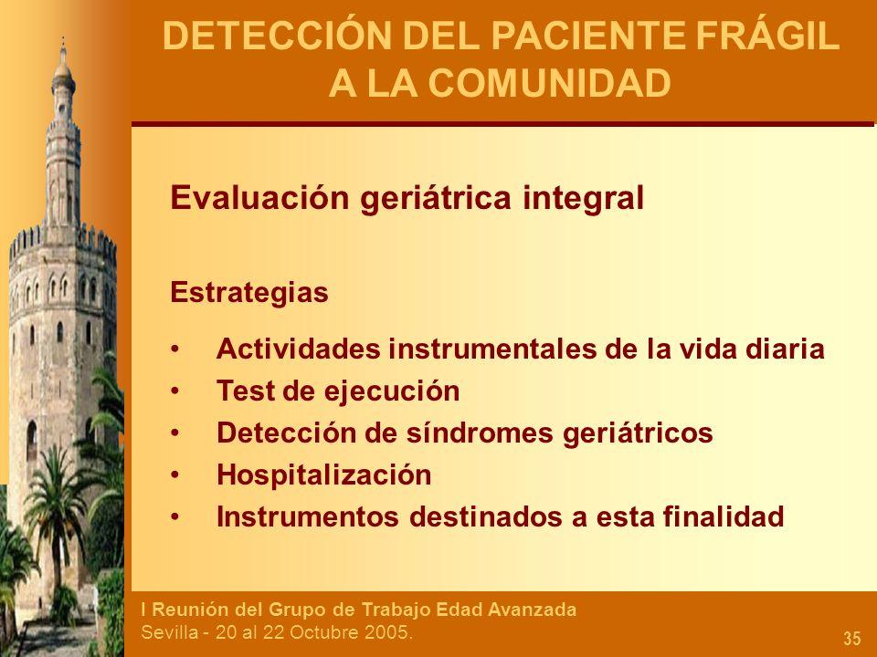 I Reunión del Grupo de Trabajo Edad Avanzada Sevilla - 20 al 22 Octubre 2005. 35 DETECCIÓN DEL PACIENTE FRÁGIL A LA COMUNIDAD Evaluación geriátrica in