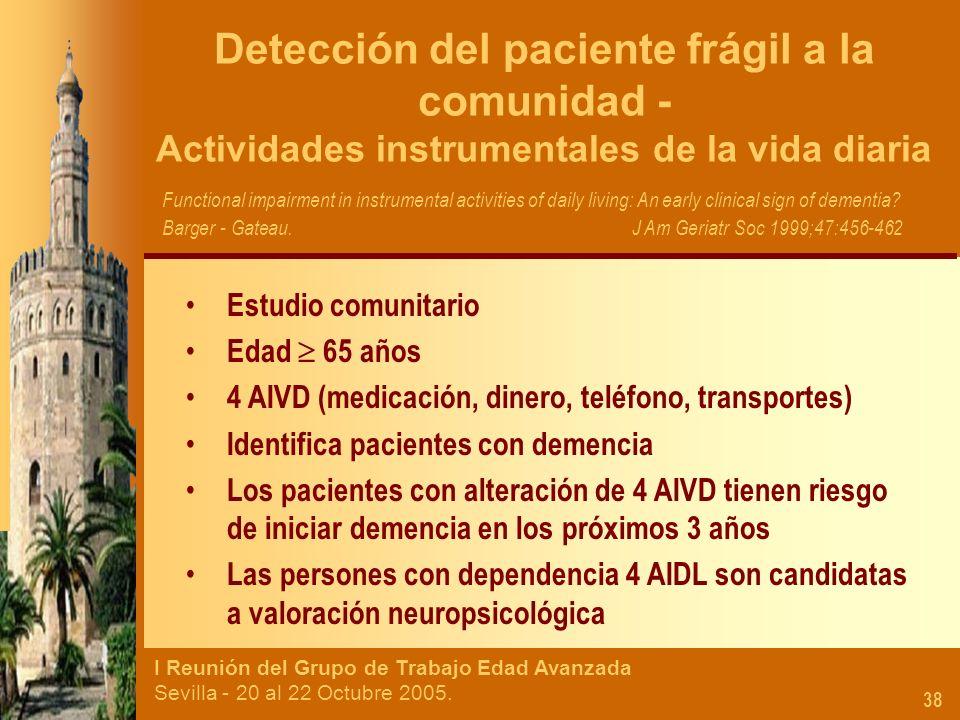 I Reunión del Grupo de Trabajo Edad Avanzada Sevilla - 20 al 22 Octubre 2005. 38 Detección del paciente frágil a la comunidad - Actividades instrument