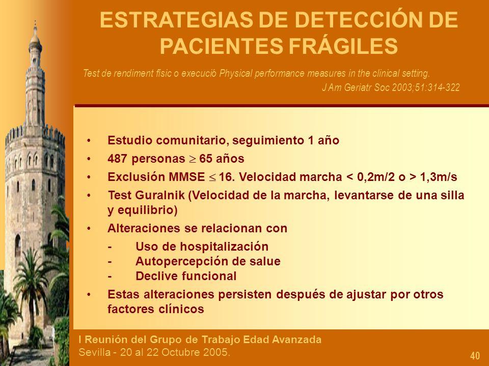 I Reunión del Grupo de Trabajo Edad Avanzada Sevilla - 20 al 22 Octubre 2005. 40 ESTRATEGIAS DE DETECCIÓN DE PACIENTES FRÁGILES Estudio comunitario, s