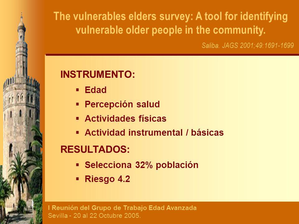 I Reunión del Grupo de Trabajo Edad Avanzada Sevilla - 20 al 22 Octubre 2005. INSTRUMENTO: Edad Percepción salud Actividades físicas Actividad instrum