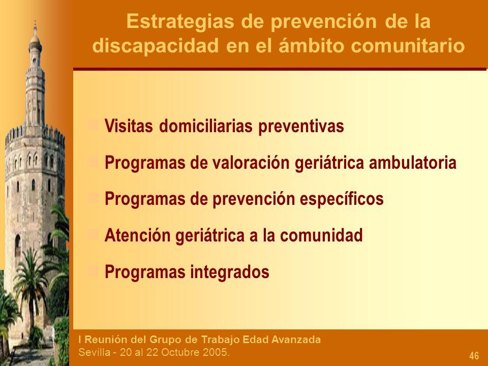 I Reunión del Grupo de Trabajo Edad Avanzada Sevilla - 20 al 22 Octubre 2005. 46 Estrategias de prevención de la discapacidad en el ámbito comunitario