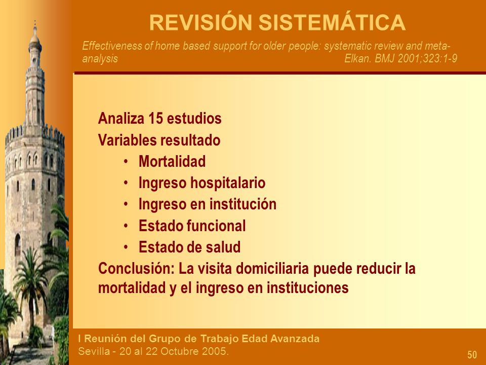 I Reunión del Grupo de Trabajo Edad Avanzada Sevilla - 20 al 22 Octubre 2005. 50 REVISIÓN SISTEMÁTICA Effectiveness of home based support for older pe