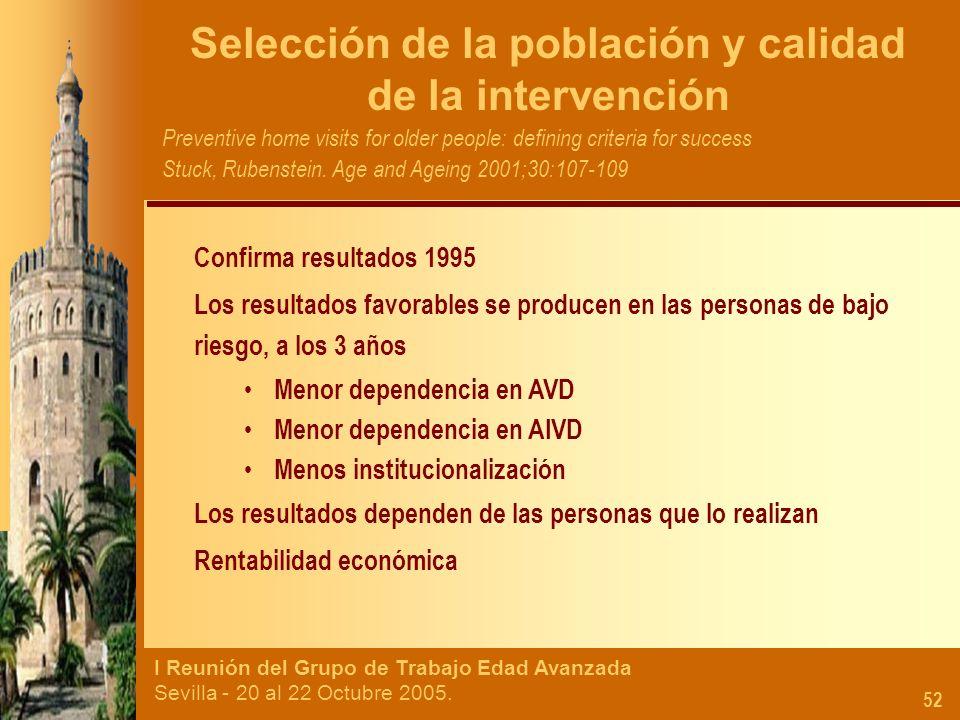 I Reunión del Grupo de Trabajo Edad Avanzada Sevilla - 20 al 22 Octubre 2005. 52 Selección de la población y calidad de la intervención Preventive hom