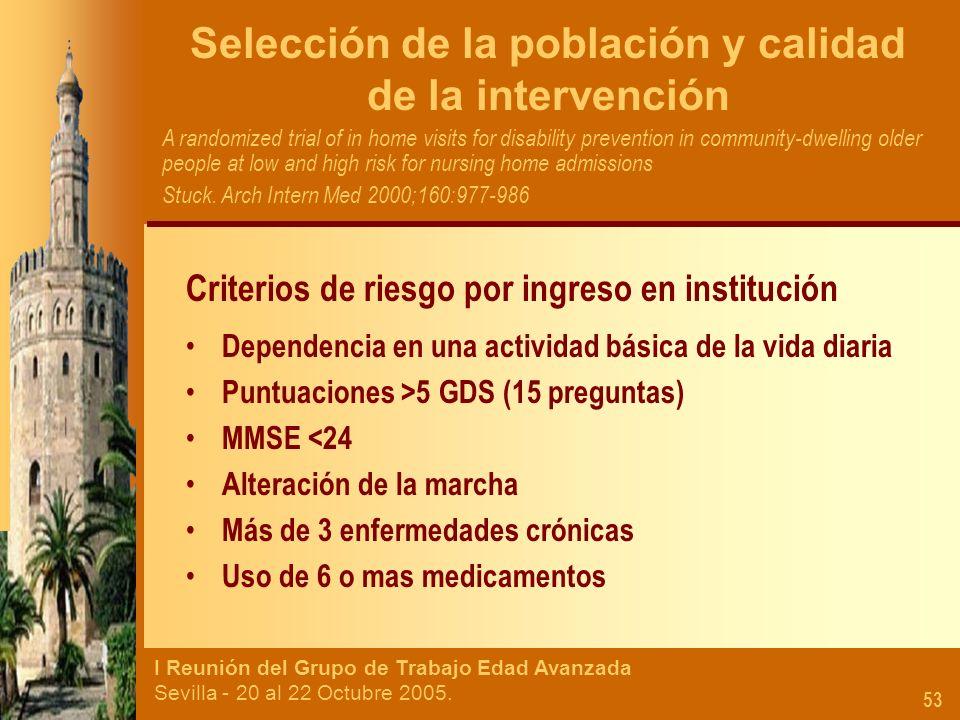 I Reunión del Grupo de Trabajo Edad Avanzada Sevilla - 20 al 22 Octubre 2005. 53 Selección de la población y calidad de la intervención A randomized t