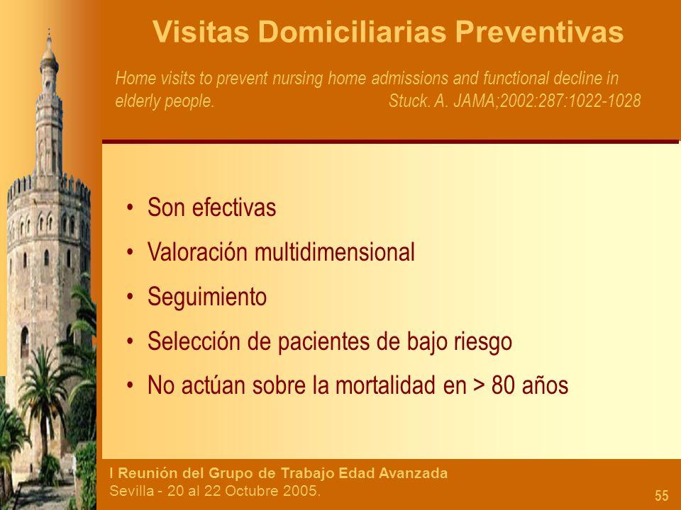 I Reunión del Grupo de Trabajo Edad Avanzada Sevilla - 20 al 22 Octubre 2005. 55 Visitas Domiciliarias Preventivas Home visits to prevent nursing home