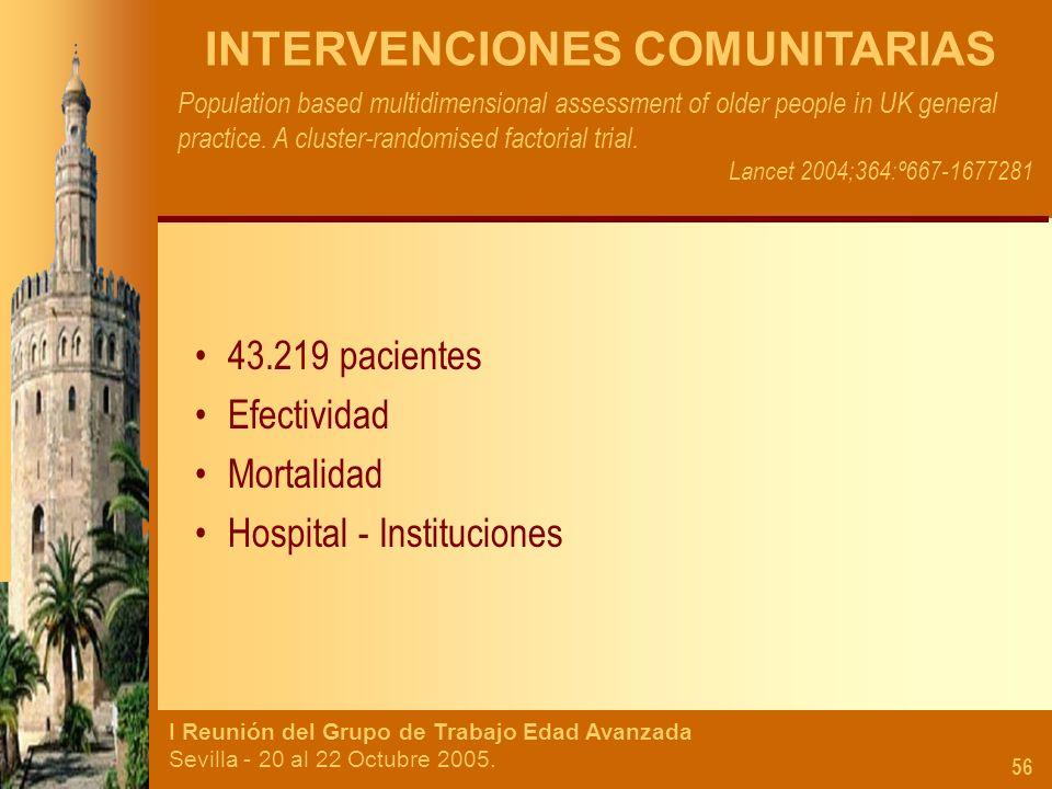 I Reunión del Grupo de Trabajo Edad Avanzada Sevilla - 20 al 22 Octubre 2005. 56 INTERVENCIONES COMUNITARIAS Population based multidimensional assessm