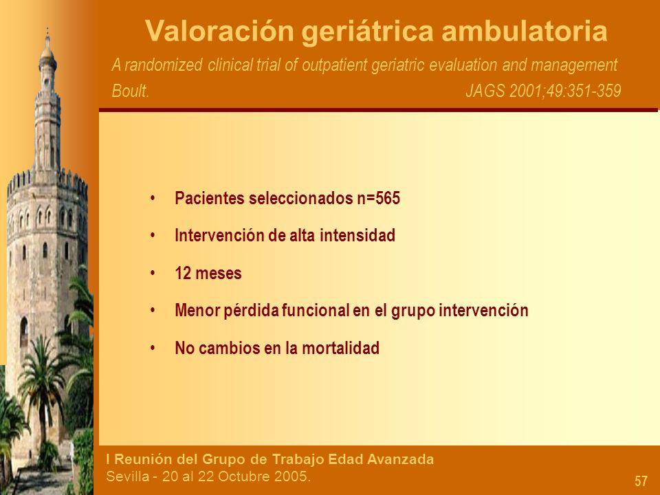I Reunión del Grupo de Trabajo Edad Avanzada Sevilla - 20 al 22 Octubre 2005. 57 Valoración geriátrica ambulatoria A randomized clinical trial of outp