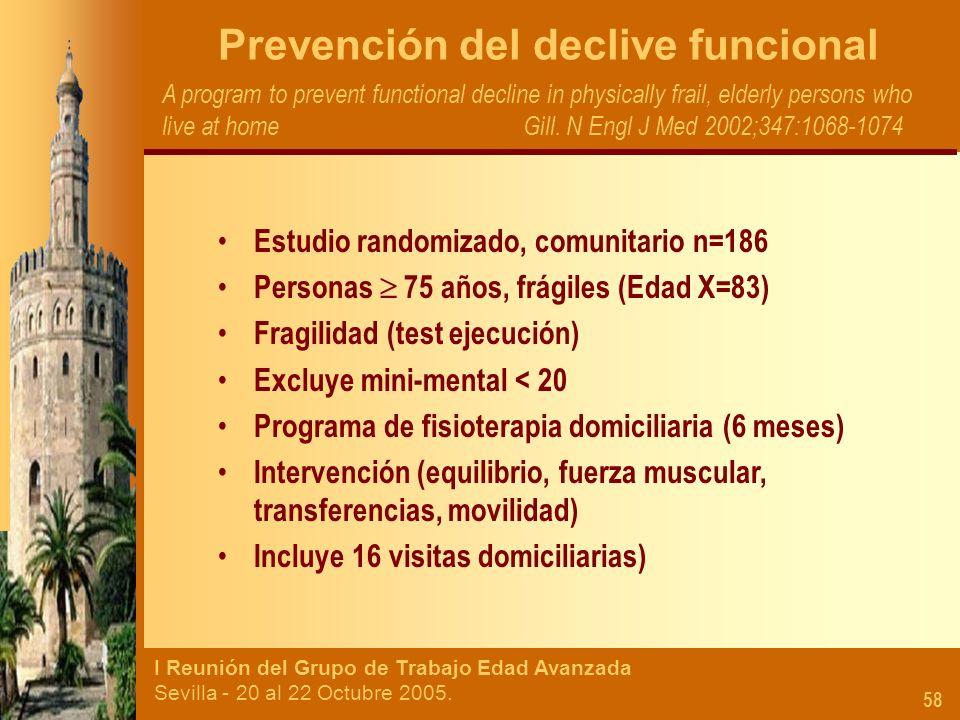 I Reunión del Grupo de Trabajo Edad Avanzada Sevilla - 20 al 22 Octubre 2005. 58 Prevención del declive funcional A program to prevent functional decl