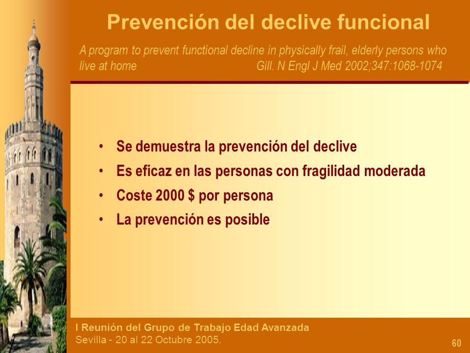 I Reunión del Grupo de Trabajo Edad Avanzada Sevilla - 20 al 22 Octubre 2005. 60 Prevención del declive funcional A program to prevent functional decl