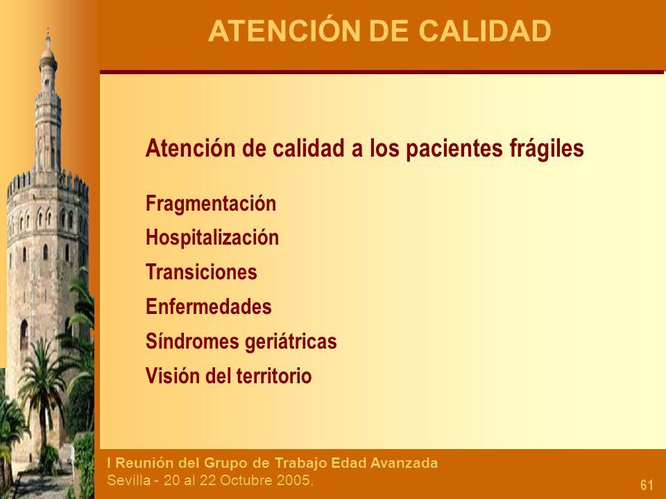 I Reunión del Grupo de Trabajo Edad Avanzada Sevilla - 20 al 22 Octubre 2005. 61 ATENCIÓN DE CALIDAD Atención de calidad a los pacientes frágiles Frag