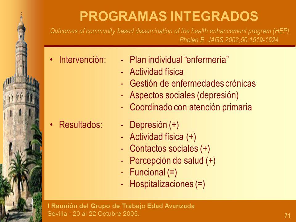 I Reunión del Grupo de Trabajo Edad Avanzada Sevilla - 20 al 22 Octubre 2005. 71 PROGRAMAS INTEGRADOS Outcomes of community based dissemination of the