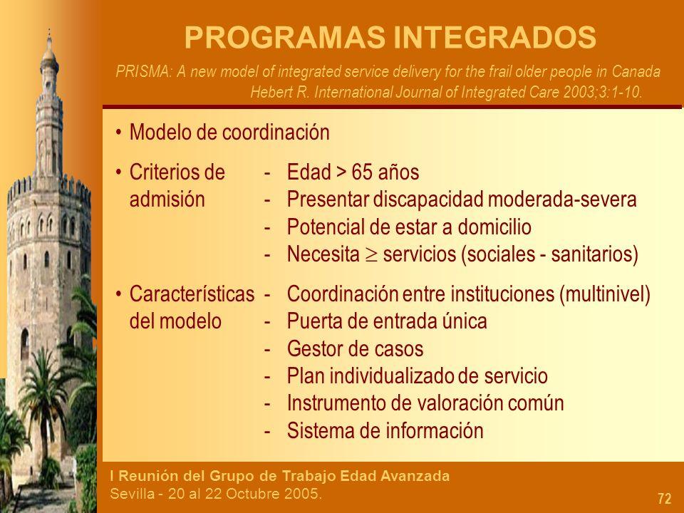 I Reunión del Grupo de Trabajo Edad Avanzada Sevilla - 20 al 22 Octubre 2005. 72 PROGRAMAS INTEGRADOS PRISMA: A new model of integrated service delive