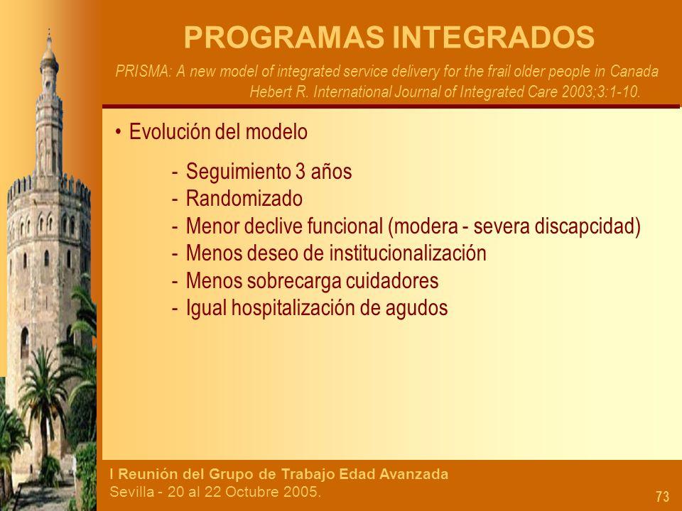 I Reunión del Grupo de Trabajo Edad Avanzada Sevilla - 20 al 22 Octubre 2005. 73 PROGRAMAS INTEGRADOS PRISMA: A new model of integrated service delive