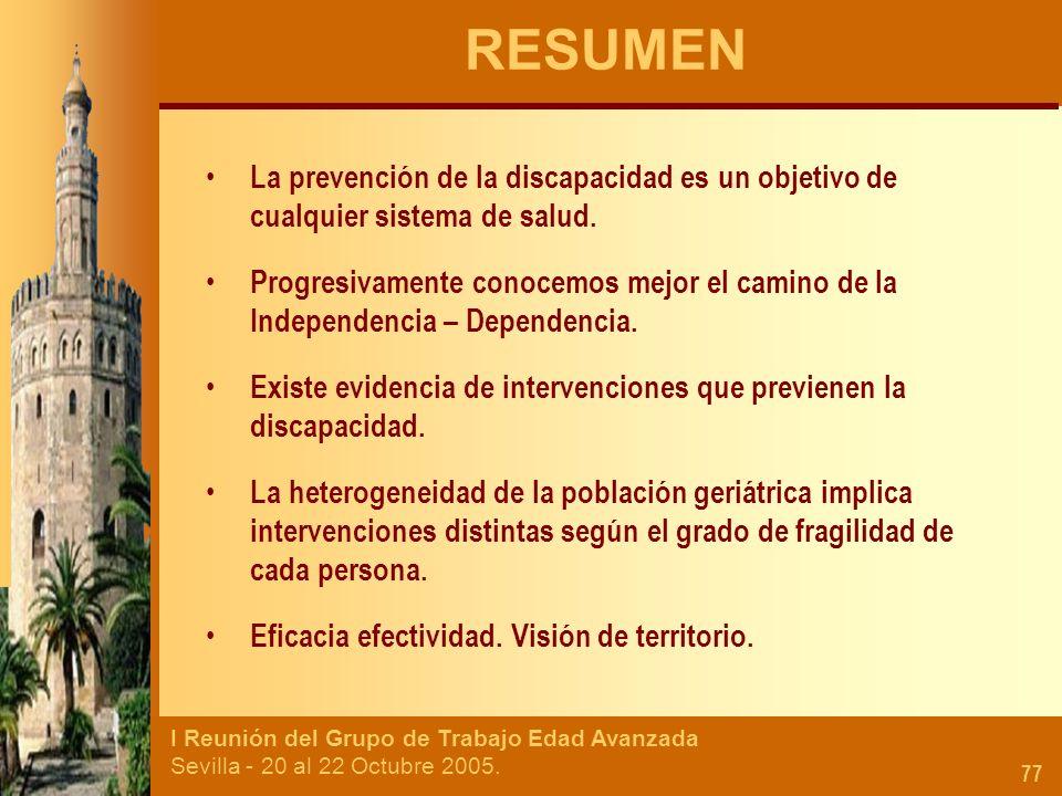 I Reunión del Grupo de Trabajo Edad Avanzada Sevilla - 20 al 22 Octubre 2005. 77 RESUMEN La prevención de la discapacidad es un objetivo de cualquier