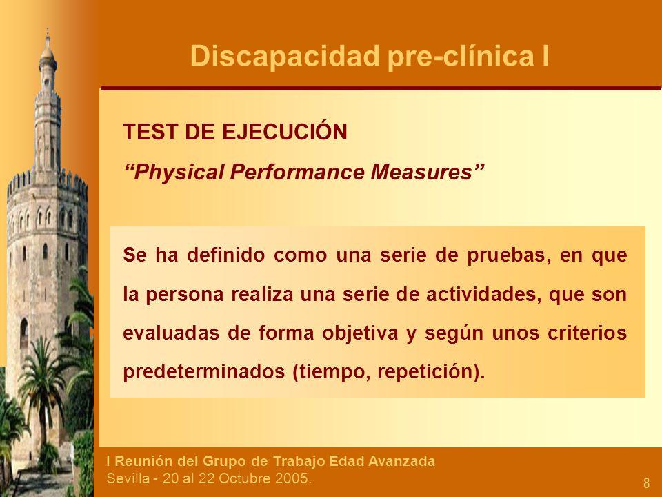 I Reunión del Grupo de Trabajo Edad Avanzada Sevilla - 20 al 22 Octubre 2005. 8 TEST DE EJECUCIÓN Physical Performance Measures Se ha definido como un