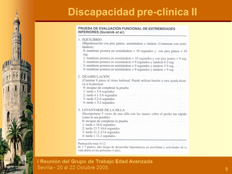I Reunión del Grupo de Trabajo Edad Avanzada Sevilla - 20 al 22 Octubre 2005. 9 Discapacidad pre-clínica II