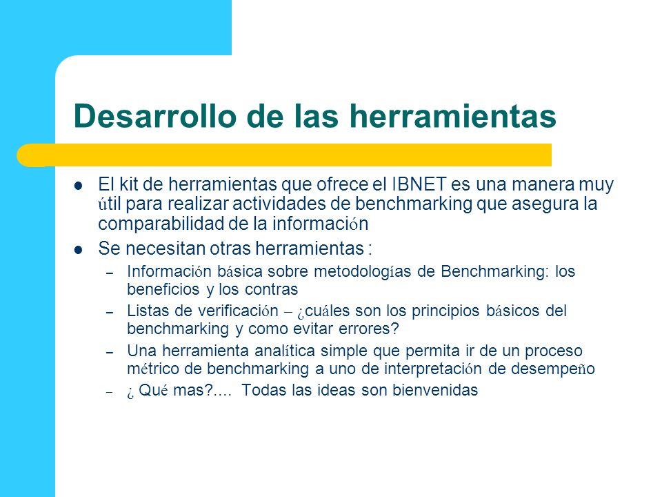Desarrollo de las herramientas El kit de herramientas que ofrece el IBNET es una manera muy ú til para realizar actividades de benchmarking que asegur
