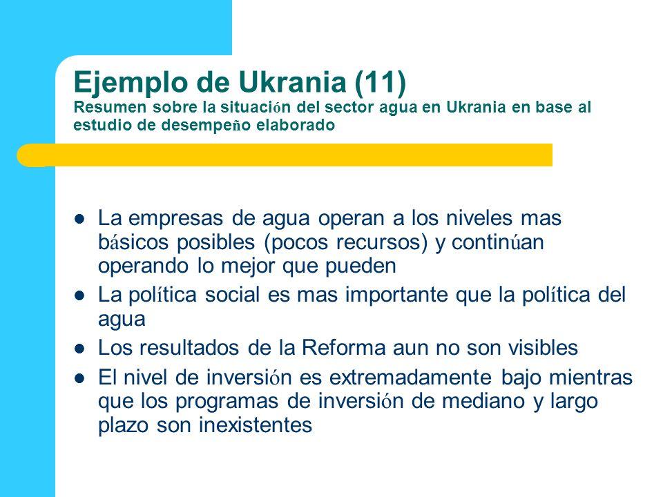 Ejemplo de Ukrania (11) Resumen sobre la situaci ó n del sector agua en Ukrania en base al estudio de desempe ñ o elaborado La empresas de agua operan