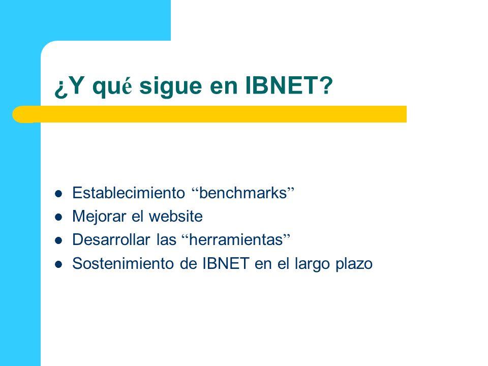 ¿Y qu é sigue en IBNET? Establecimiento benchmarks Mejorar el website Desarrollar las herramientas Sostenimiento de IBNET en el largo plazo