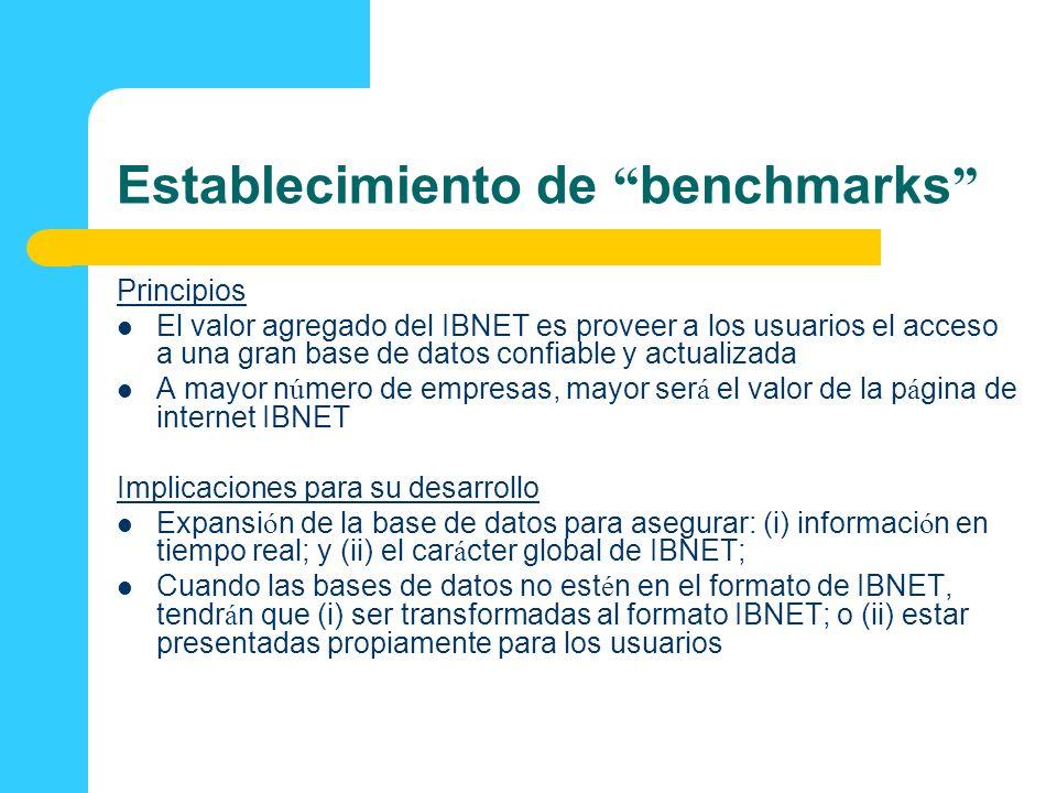 Establecimiento de benchmarks Principios El valor agregado del IBNET es proveer a los usuarios el acceso a una gran base de datos confiable y actualiz