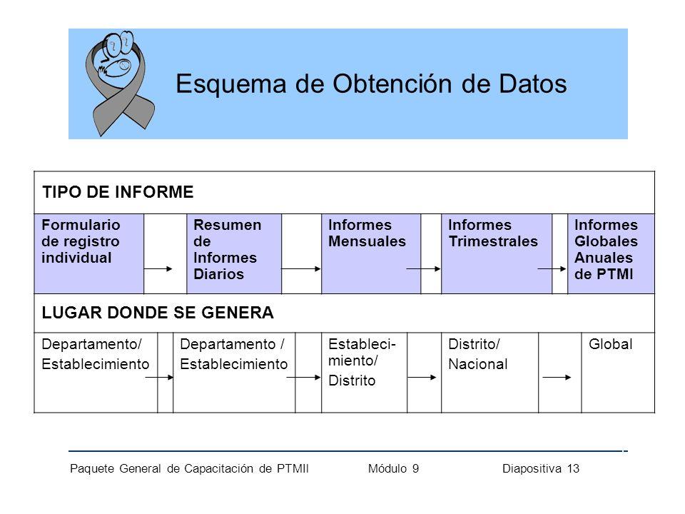 Paquete General de Capacitación de PTMIl Módulo 9 Diapositiva 13 TIPO DE INFORME Formulario de registro individual Resumen de Informes Diarios Informe