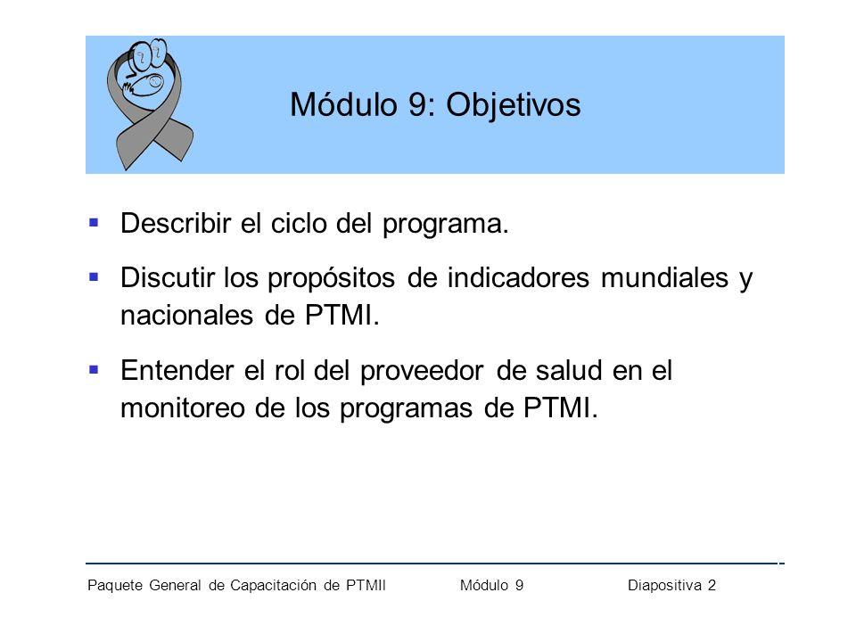 Paquete General de Capacitación de PTMIl Módulo 9 Diapositiva 2 Módulo 9: Objetivos Describir el ciclo del programa. Discutir los propósitos de indica