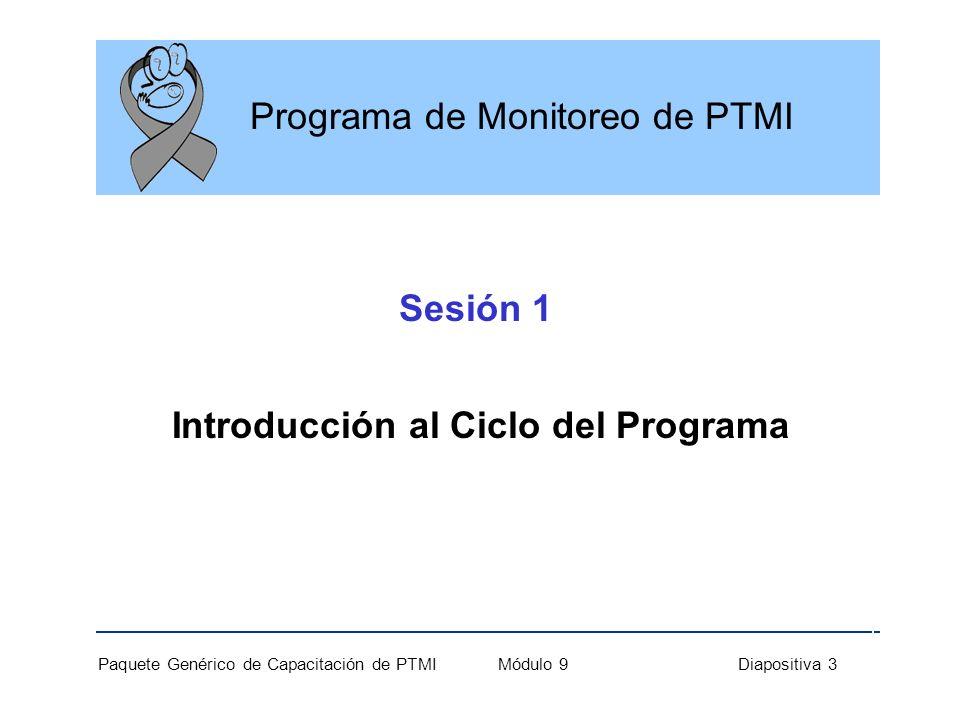 Paquete Genérico de Capacitación de PTMI Módulo 9 Diapositiva 3 Programa de Monitoreo de PTMI Sesión 1 Introducción al Ciclo del Programa
