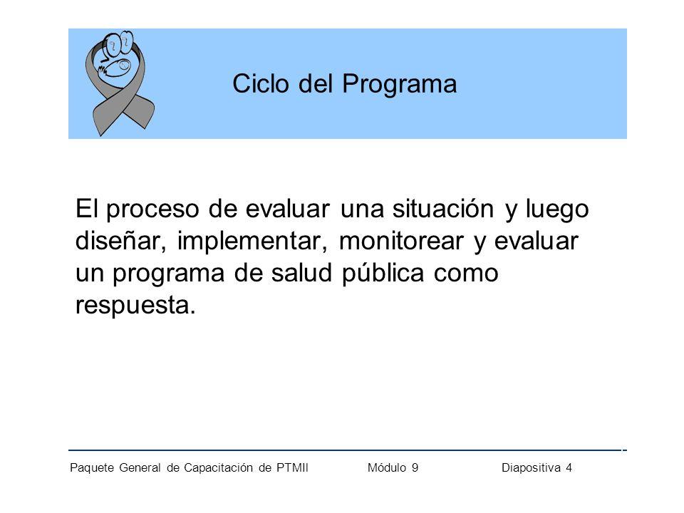 Paquete General de Capacitación de PTMIl Módulo 9 Diapositiva 5 Analogía entre el Ciclo del Programa y el Manejo clínico PasosCiclo del ProgramaManejo Clínico 1Evaluar Obtener el historial médico, realizar examen físico y elaborar diagnóstico.