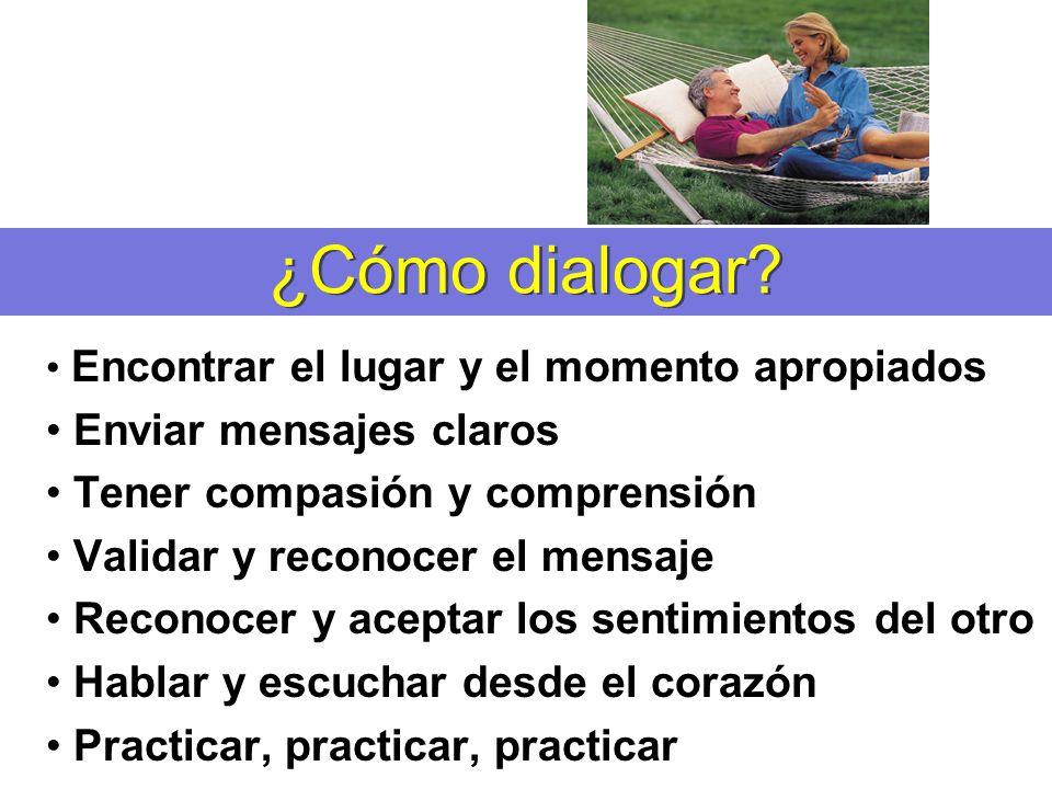 ¿Cómo dialogar? Encontrar el lugar y el momento apropiados Enviar mensajes claros Tener compasión y comprensión Validar y reconocer el mensaje Reconoc