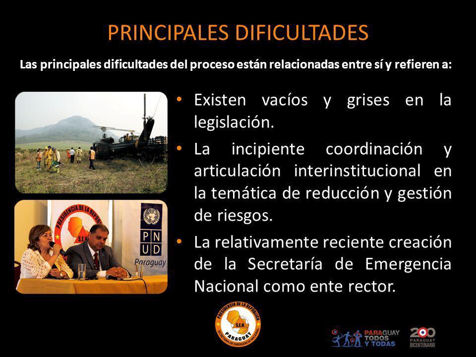PRINCIPALES DIFICULTADES Existen vacíos y grises en la legislación. La incipiente coordinación y articulación interinstitucional en la temática de red