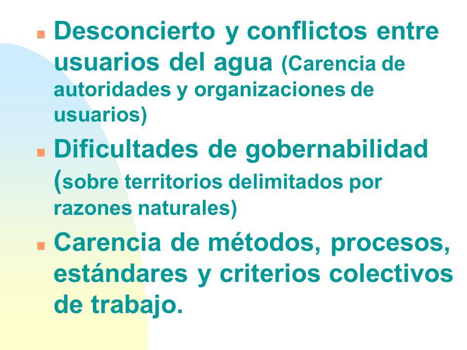 n Metas muy amplias y poco operativas (gestión integrada del agua) n Descoordinación institucional ( poca claridad en roles y áreas grises de gestión