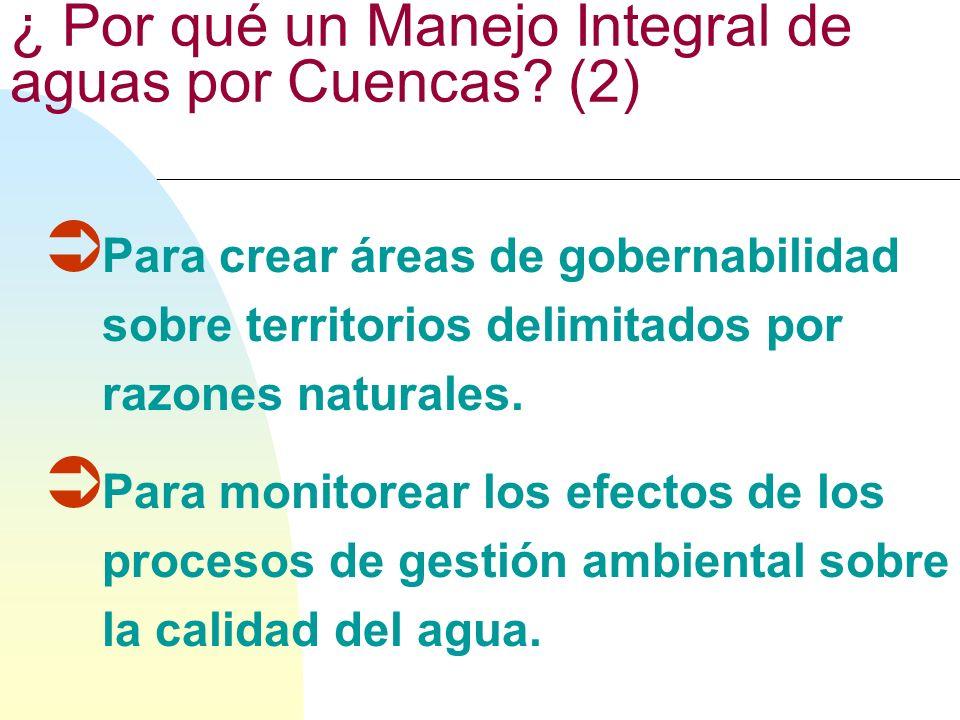 ¿ Por qué un Manejo Integral de aguas por Cuencas?(1) Para tomar en consideración los actores endógenos y exógenos que tienen influencias sobre la ges