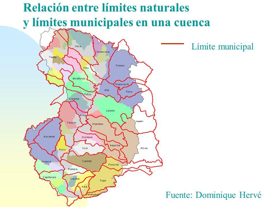 Sub-cuencas: Son muy diferentes en tamaño Fuente: Dominique Hervé