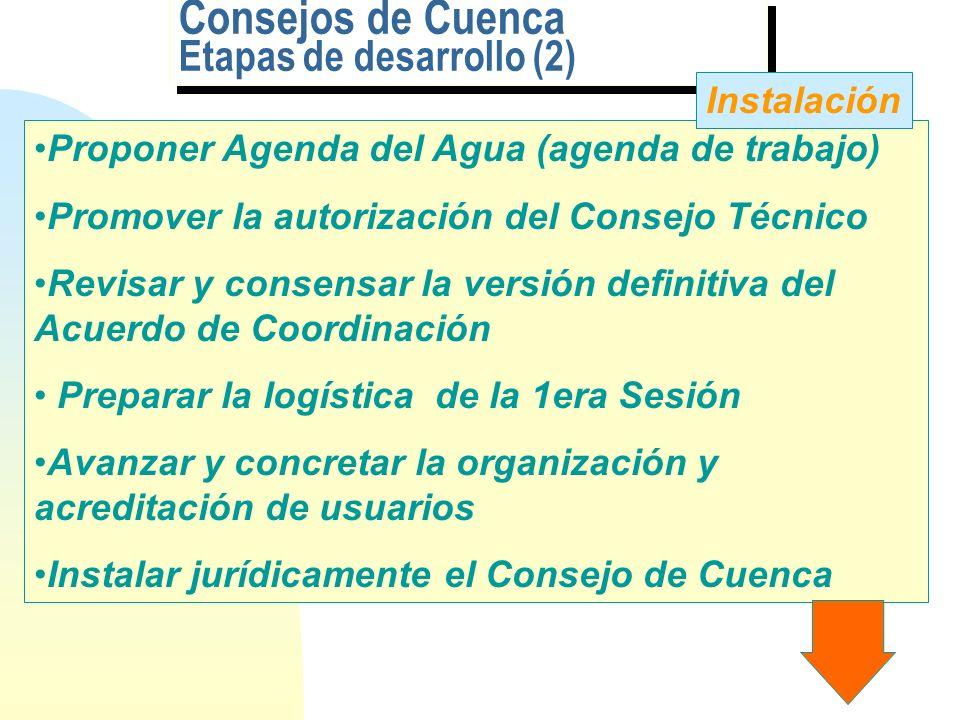 Consejos de Cuenca Etapas de desarrollo Definir objetivos, estrategias y alcances Elaborar Diagnóstico, Estrategias y Plan Maestro; revisar con actore