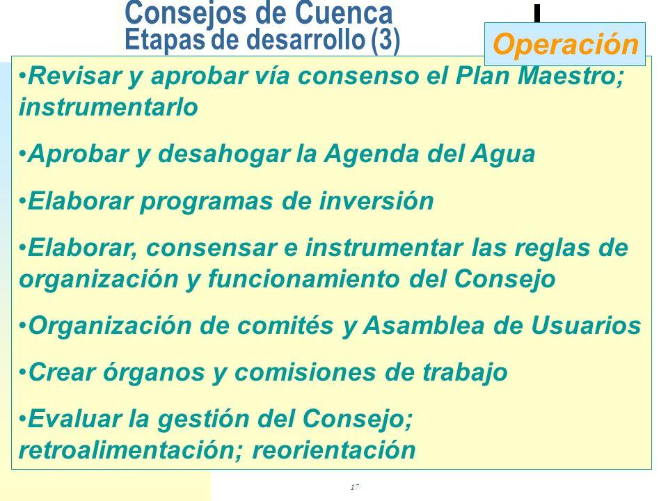 Consejos de Cuenca Etapas de desarrollo (2) Proponer Agenda del Agua (agenda de trabajo) Promover la autorización del Consejo Técnico Revisar y consen