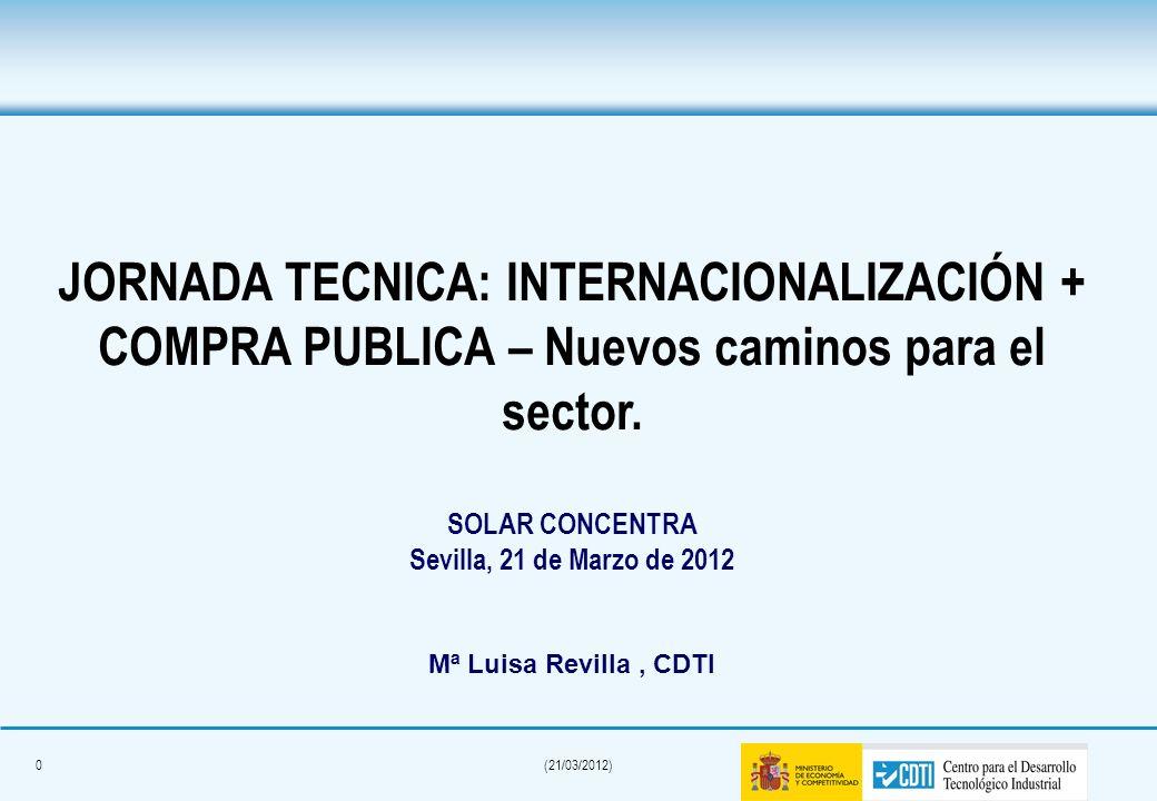0(21/03/2012) JORNADA TECNICA: INTERNACIONALIZACIÓN + COMPRA PUBLICA – Nuevos caminos para el sector.
