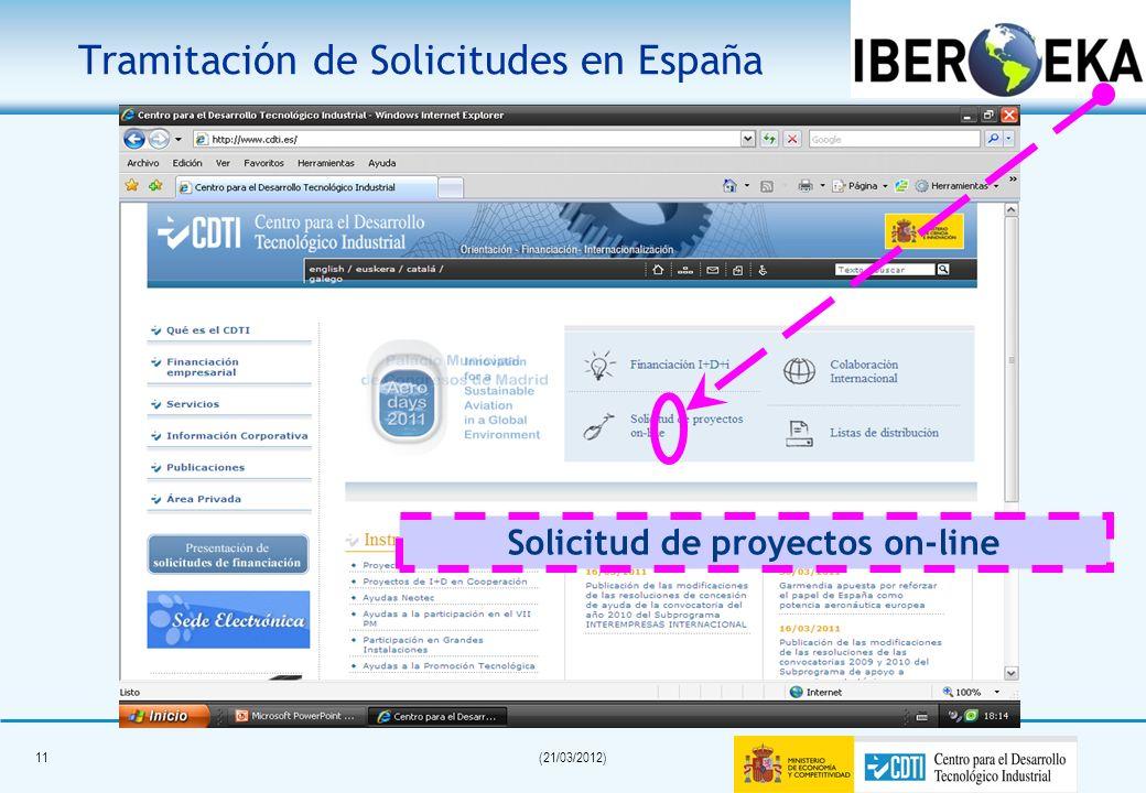 10(21/03/2012) Proyectos enfocados al mercado. Filosofía Bottom-up. Convocatoria permanentemente. abierta (excepto Eurostars) Programa descentralizado