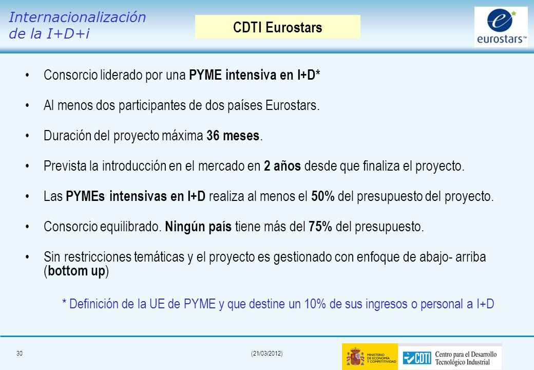 29(21/03/2012) Apoyo a las PyMEs innovadoras para: – –Realizar proyectos de I+D orientados a mercado, – –Liderar y desarrollar la mayor parte del proy