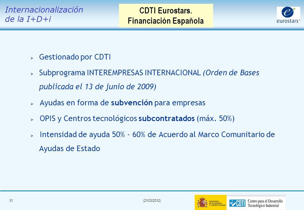 30(21/03/2012) Consorcio liderado por una PYME intensiva en I+D* Al menos dos participantes de dos países Eurostars. Duración del proyecto máxima 36 m
