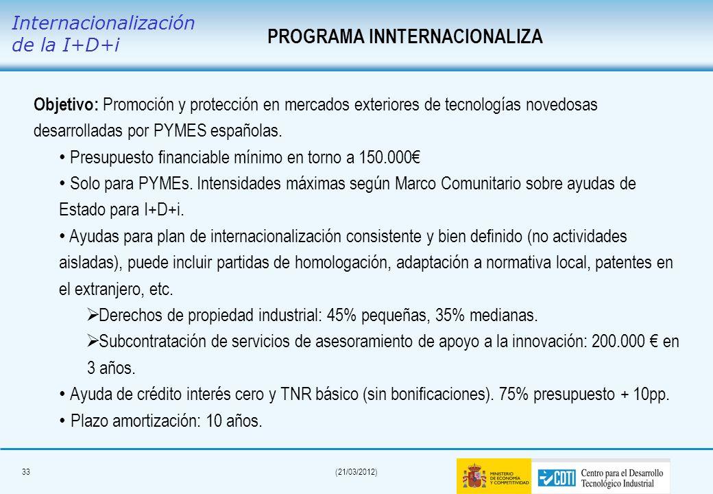 32(21/03/2012) Proyectos de I+D EUROSTARSPequeña empresaMediana empresaGran empresa Investigación aplicada: Colaboración entre empresas; en caso de gr
