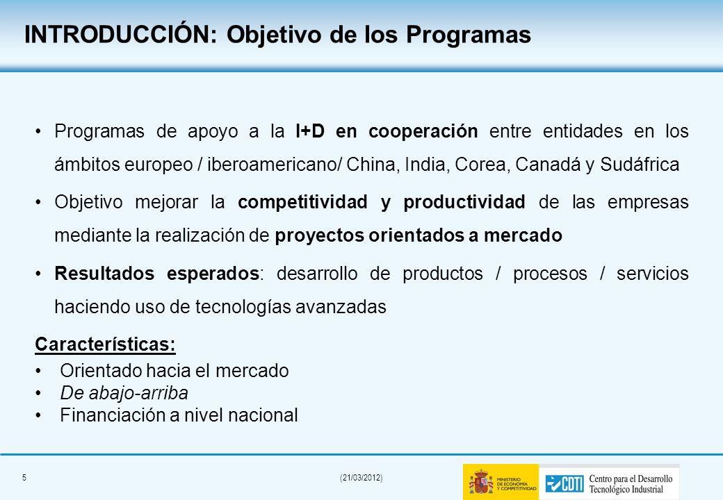 5(21/03/2012) Programas de apoyo a la I+D en cooperación entre entidades en los ámbitos europeo / iberoamericano/ China, India, Corea, Canadá y Sudáfrica Objetivo mejorar la competitividad y productividad de las empresas mediante la realización de proyectos orientados a mercado Resultados esperados: desarrollo de productos / procesos / servicios haciendo uso de tecnologías avanzadas Características: Orientado hacia el mercado De abajo-arriba Financiación a nivel nacional INTRODUCCIÓN: Objetivo de los Programas