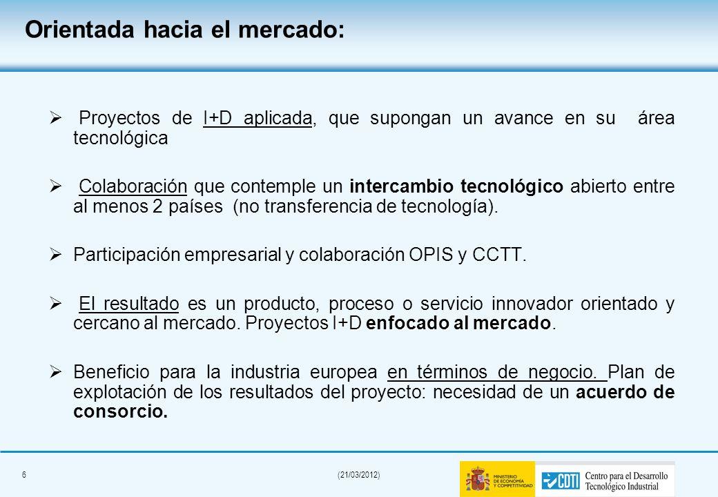 6(21/03/2012) Orientada hacia el mercado: Proyectos de I+D aplicada, que supongan un avance en su área tecnológica Colaboración que contemple un intercambio tecnológico abierto entre al menos 2 países (no transferencia de tecnología).