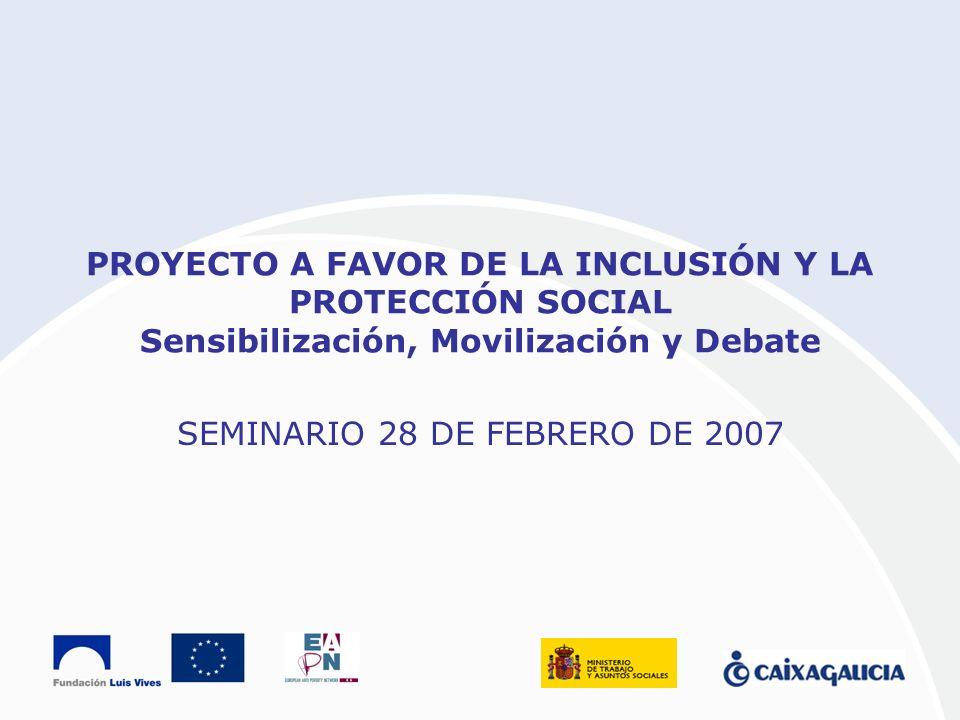PROYECTO A FAVOR DE LA INCLUSIÓN Y LA PROTECCIÓN SOCIAL Sensibilización, Movilización y Debate SEMINARIO 28 DE FEBRERO DE 2007
