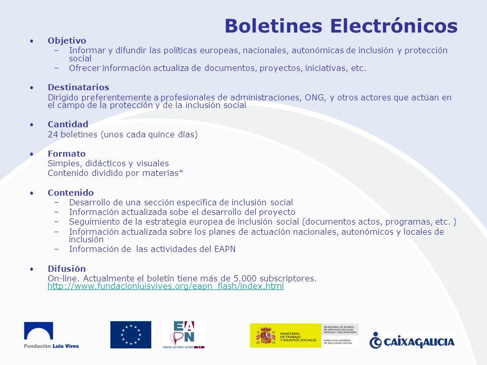 Boletines Electrónicos Objetivo –Informar y difundir las políticas europeas, nacionales, autonómicas de inclusión y protección social –Ofrecer informa