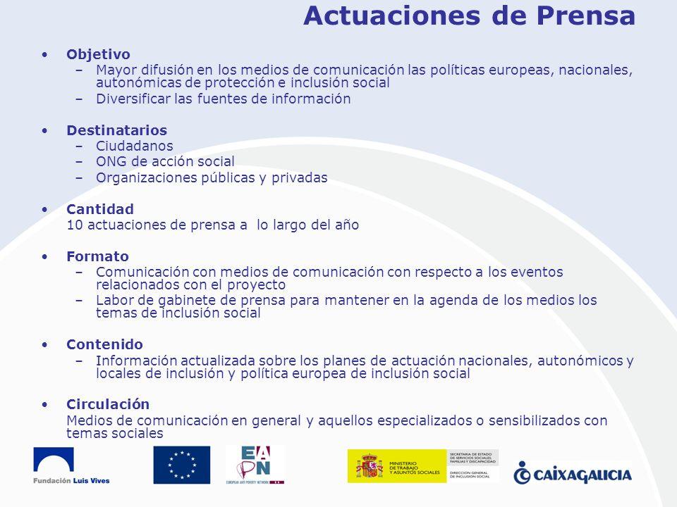Actuaciones de Prensa Objetivo –Mayor difusión en los medios de comunicación las políticas europeas, nacionales, autonómicas de protección e inclusión