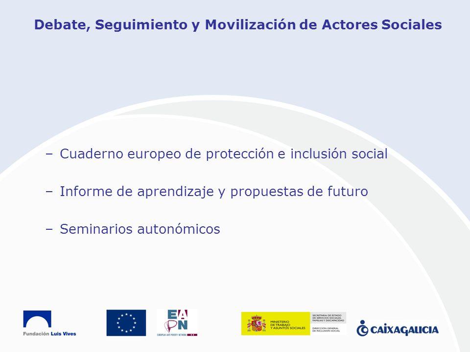 Debate, Seguimiento y Movilización de Actores Sociales –Cuaderno europeo de protección e inclusión social –Informe de aprendizaje y propuestas de futu
