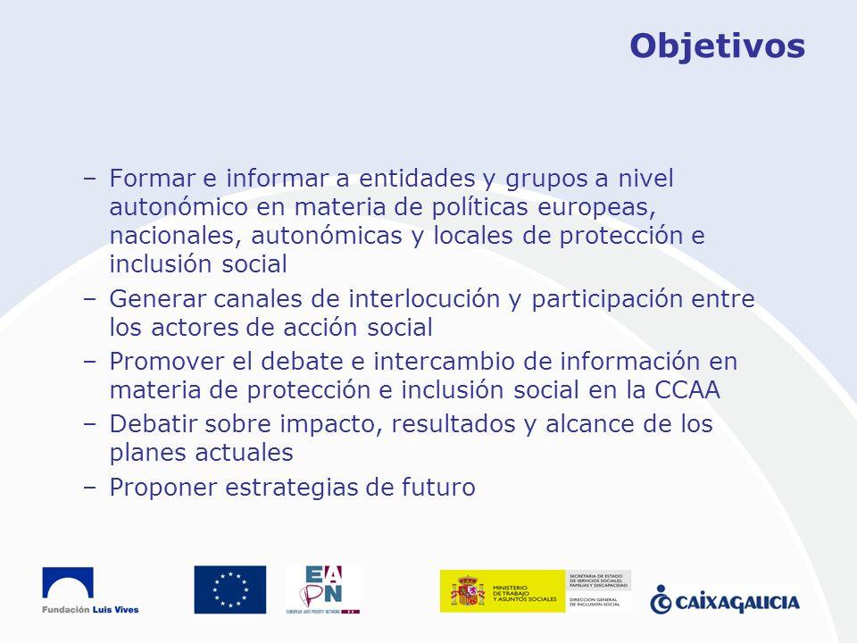 Objetivos –Formar e informar a entidades y grupos a nivel autonómico en materia de políticas europeas, nacionales, autonómicas y locales de protección