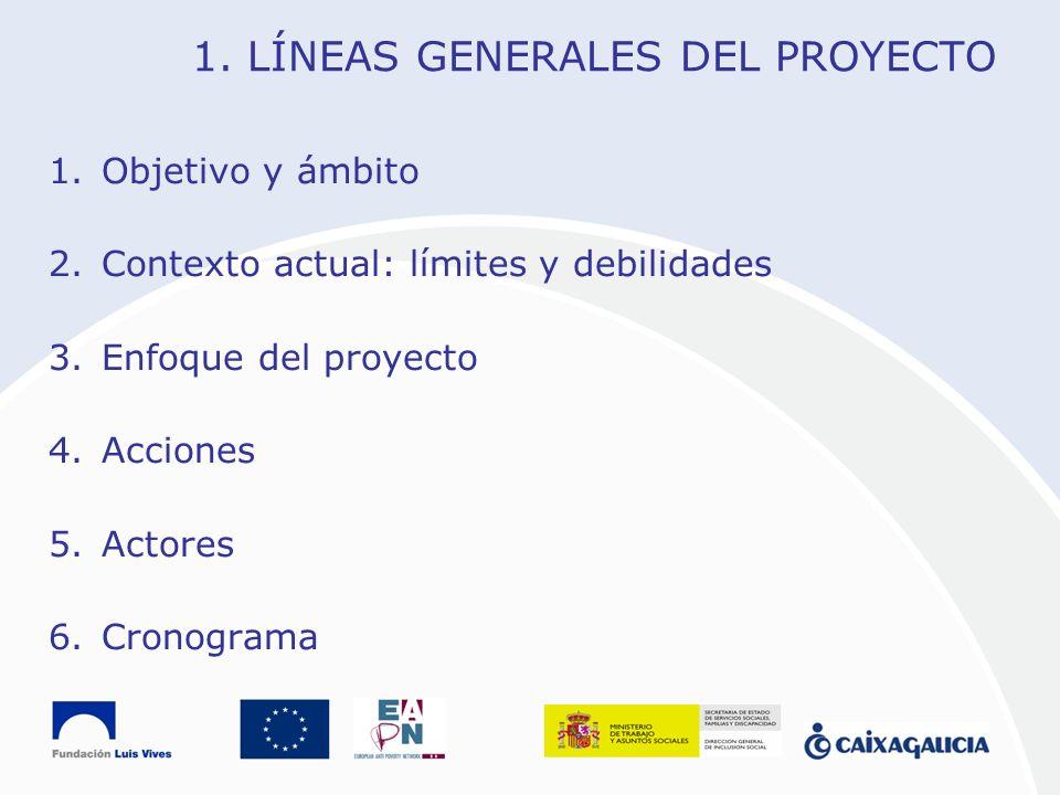 1. LÍNEAS GENERALES DEL PROYECTO 1.Objetivo y ámbito 2.Contexto actual: límites y debilidades 3.Enfoque del proyecto 4.Acciones 5.Actores 6.Cronograma